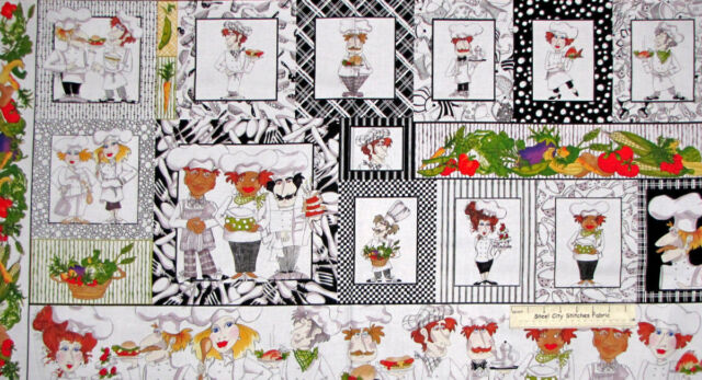 Loralie Chef Fabric - Whats Cookin Food Cooks Kitchen Vegetable Cake 24