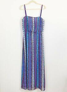 WELLS-GRACE-Maxi-Dress-Size-Large-Blue-Tribal-Print-Elastic-Waist-Long