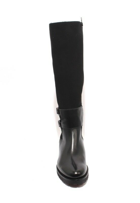 Luca Grossi Grossi Grossi 364 Black Leather Suede Sheepskin Fur Knee High Boots 37   US 7 562cb8