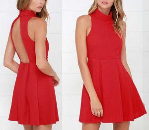 new styles 46a08 fc14d Dettagli su Mini Vestito Donna Rosso - Woman Red Mini Dress Casual Summer  110153