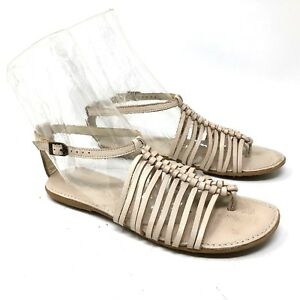 d8ab73ded90 Soul of africa leather strappy braided sandals off-white women s ...