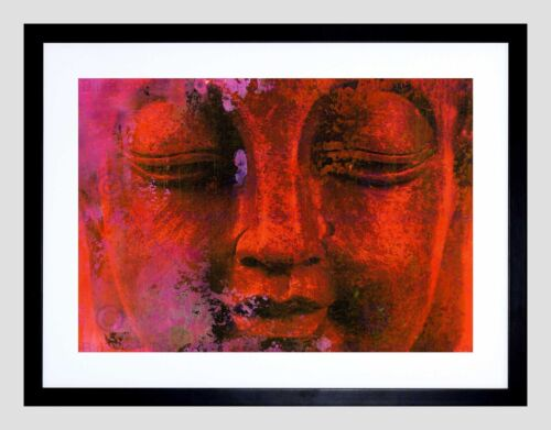 DT ABSTRACT BUDDHA HEAD BLACK FRAME FRAMED ART PRINT PICTURE MOUNT B12X8124