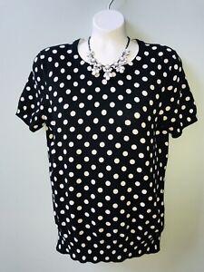 Lands-039-End-Women-039-s-Black-White-Dot-Short-Sleeve-Supima-Cotton-Pullover-Sweater-S