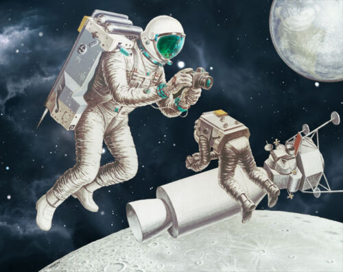 NASA 1978 Apollo Moon Mission Voice Control Backpack Concept Art Print Poster