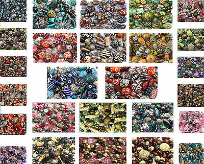 JEWELLERY MAKING MIXED COLOUR BEADS SELECTION 80g MIX BLUE GLASS ACRYLIC CRYSTAL
