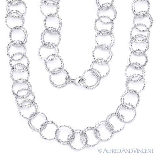Solid .925 Sterling Silver Double-Coil Circle Cable Link Italian Chain Necklace