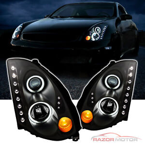 2003-2007-LED-Projector-Black-Headlights-Pair-CCFL-Halo-for-Infiniti-G35-Coupe
