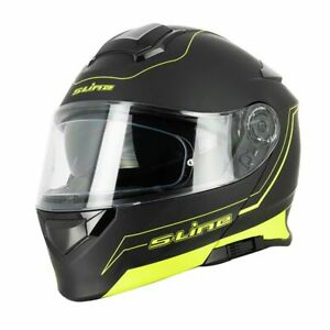 Casque-Moto-scooter-Modulable-Sifam-S550-Noir-Jaune-MAT-Double-visiere-Pinlock