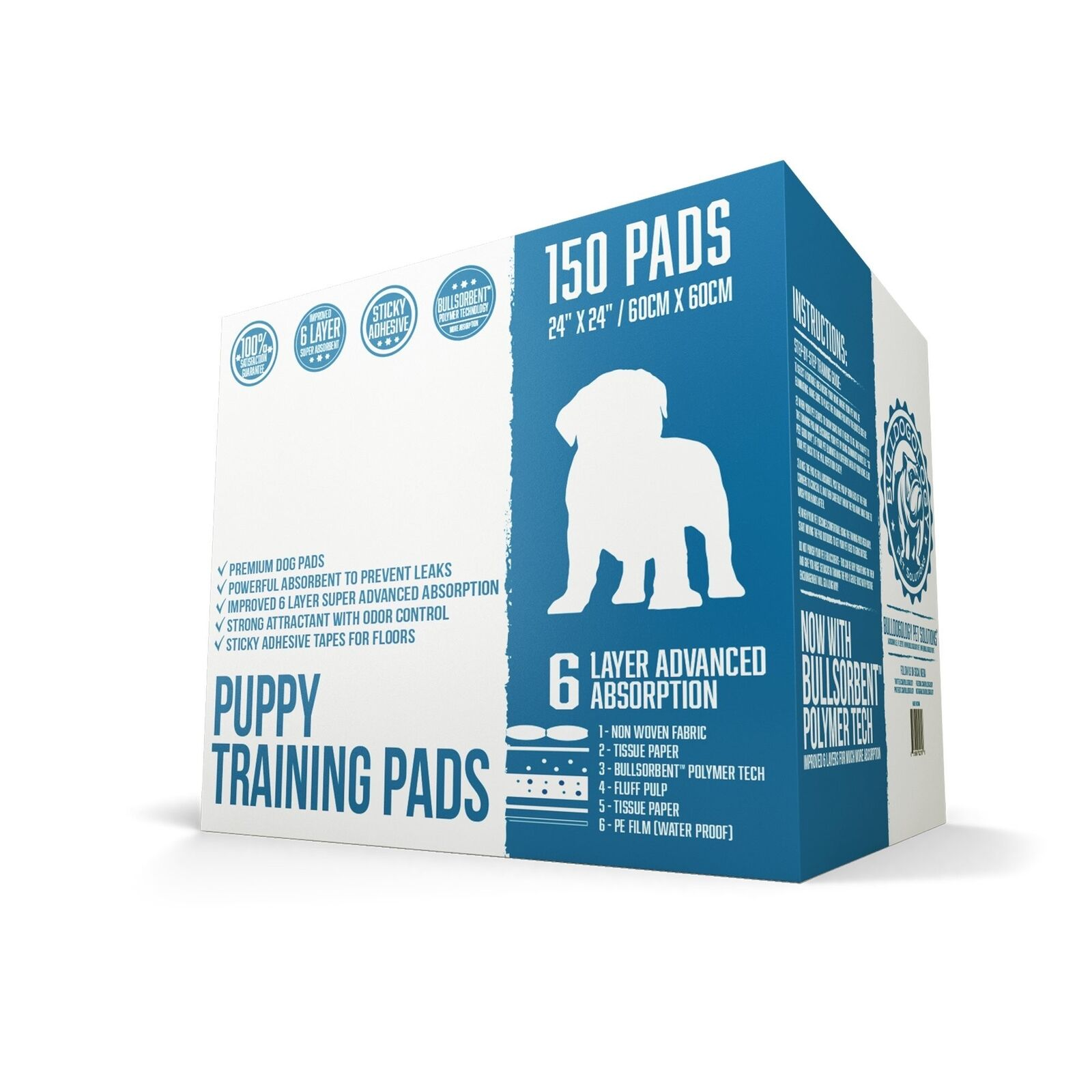 Bulldogology Puppy Pee Pads with Adhesive Sticky Tape - 150 Count (24x24 )