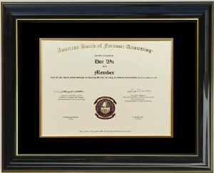 Diploma Certificate Glossy Black Lacquer Wood Honors Frame Double