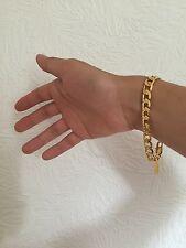 "Premium Quality 8mm 8"" 18K Yellow Gold Filled Chain Bracelet Men's Birthday Gift"