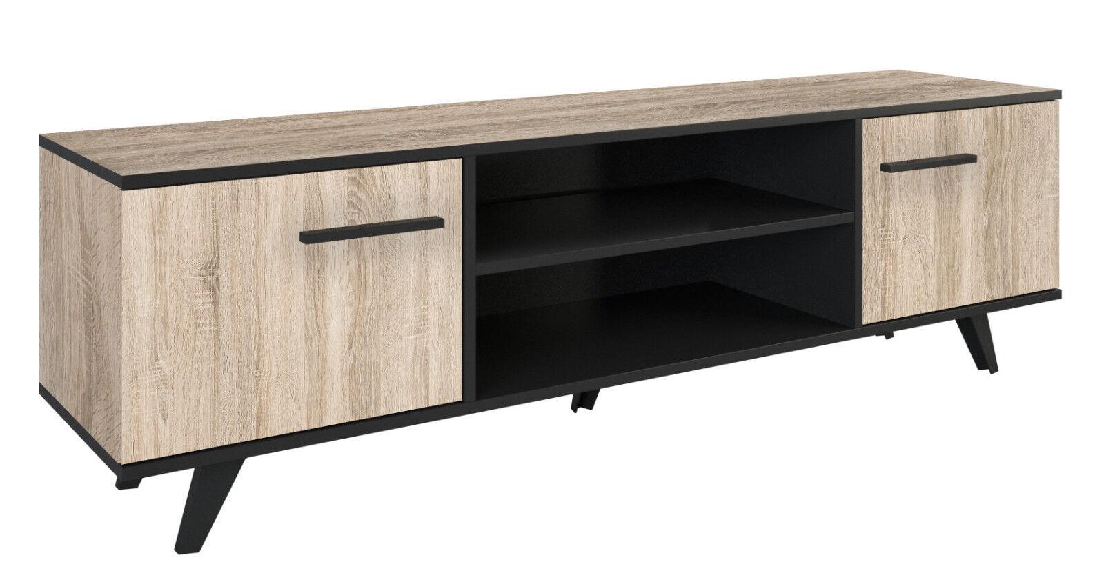 Mesa TV comedor salon color roble y negro 2 espacios 2 puertas...