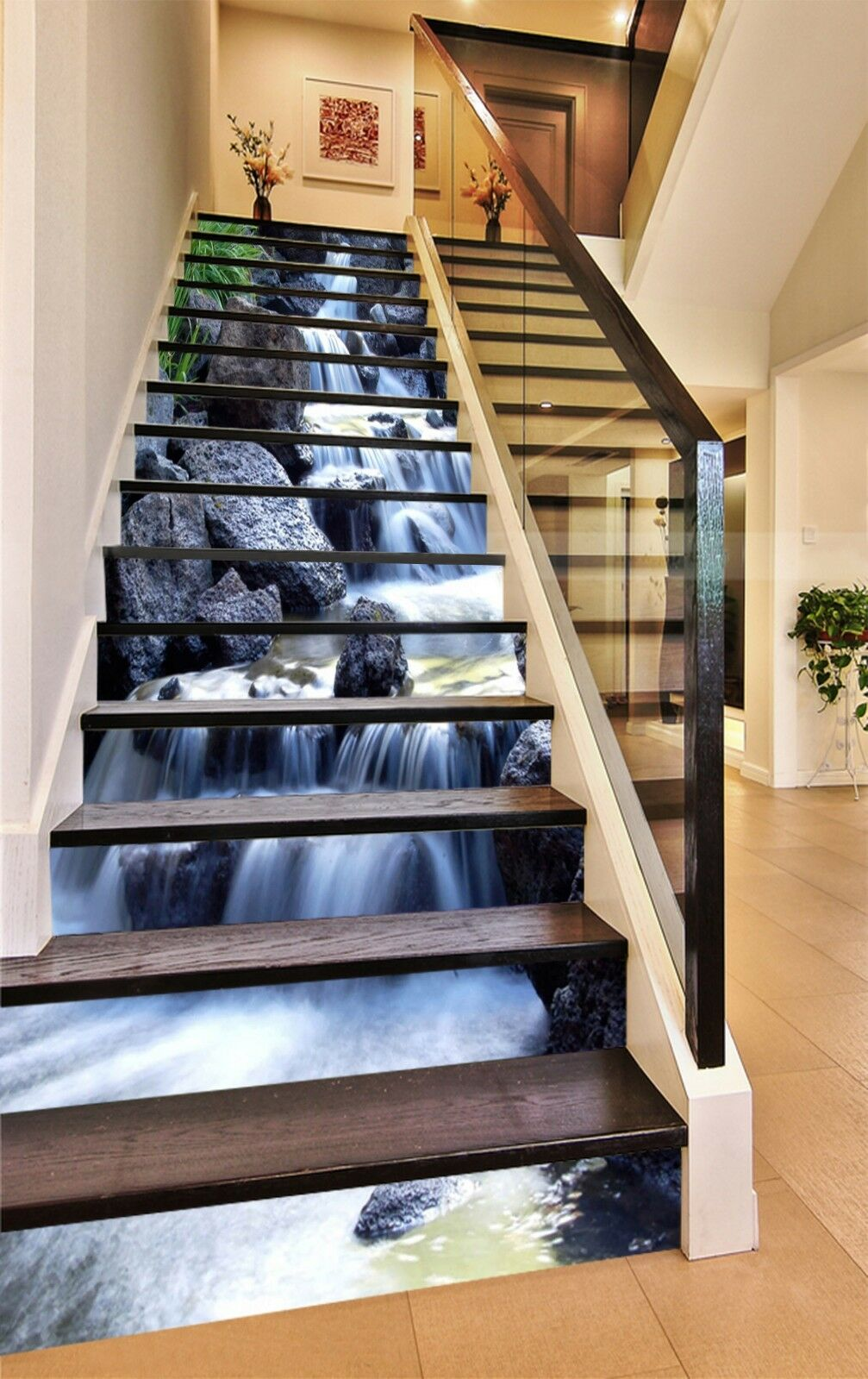 3D Stone water 5 Stair Risers Decoration Photo Mural Vinyl Decal Wallpaper UK