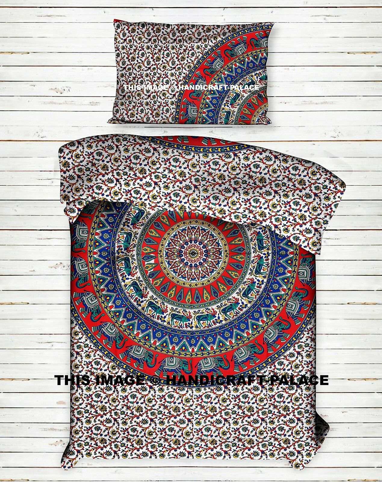 Indian Elephant Mandala Duvet Cover Twin Cotton Throw Reversible Blanket Set