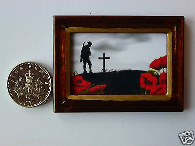 "DOLLSHOUSE MINIATURE PICTURE /""POPPIES of REMEMBRANCE/"" Wood Frame Handmade 1:12th"