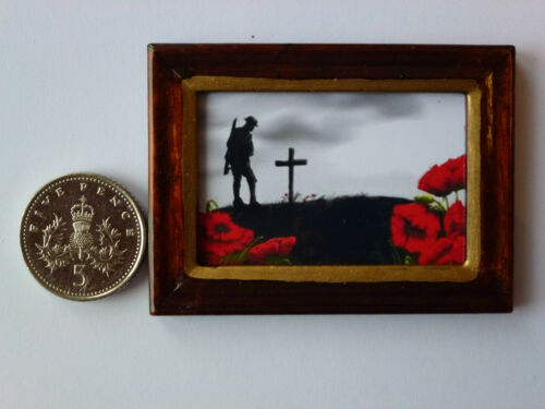 """DOLLSHOUSE MINIATURE PICTURE /""""POPPIES of REMEMBRANCE/"""" Wood Frame Handmade 1:12th"""