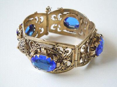Jewelry & Watches Precious Metal Without Stones Antikes Geprüftes Silber Vergoldetes Armreif Blaue Steine 77,8 G Mächtig!