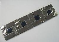 Large Mirror Effect Glass Mosaic Border Tiles Chrome + Black - 30cm x 7.5cm