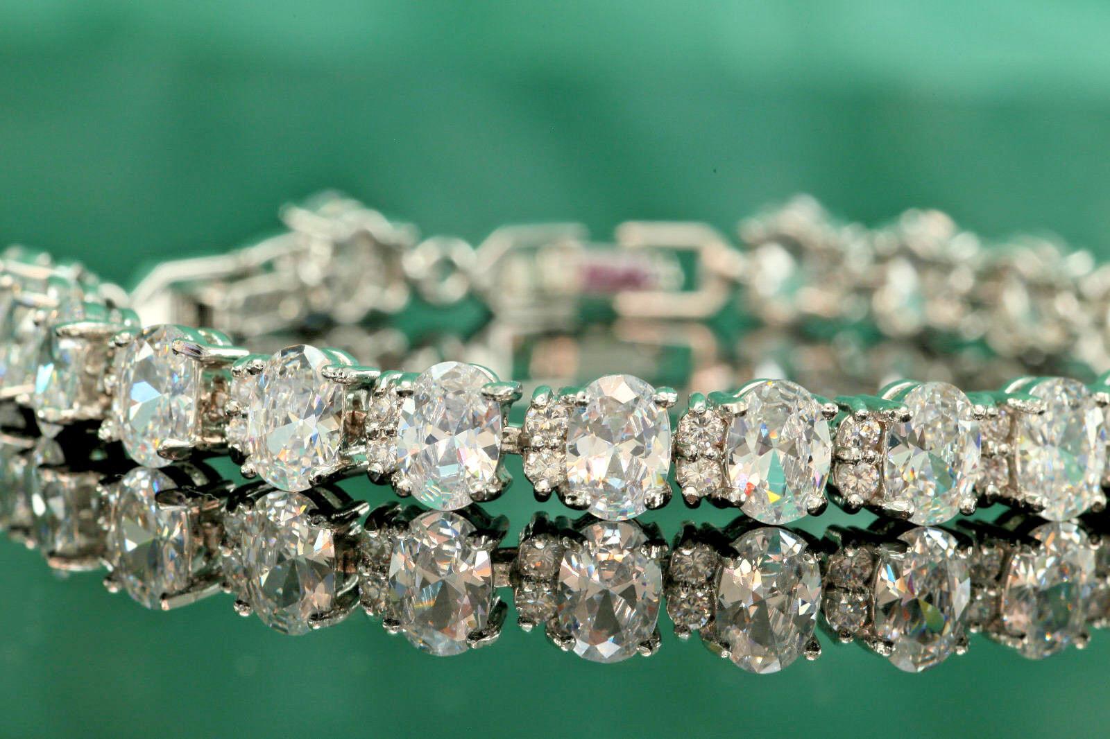 Certified 3Ct Oval & Round Cut White Diamond 7  Tennis Bracelet 14K White gold