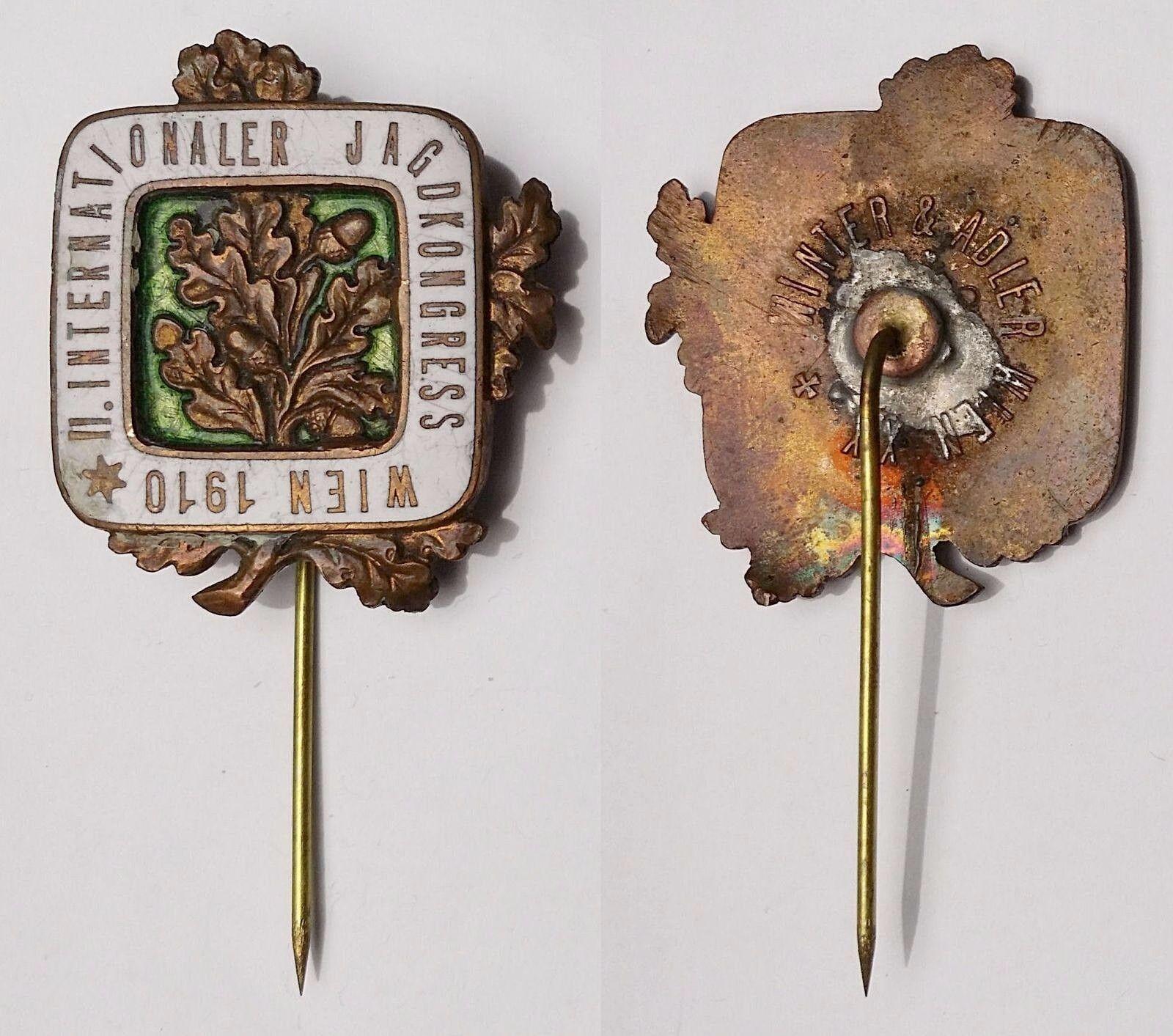 AUSTRIA 1910 Vienna International Hunters Congress  rare enameled lapel pin