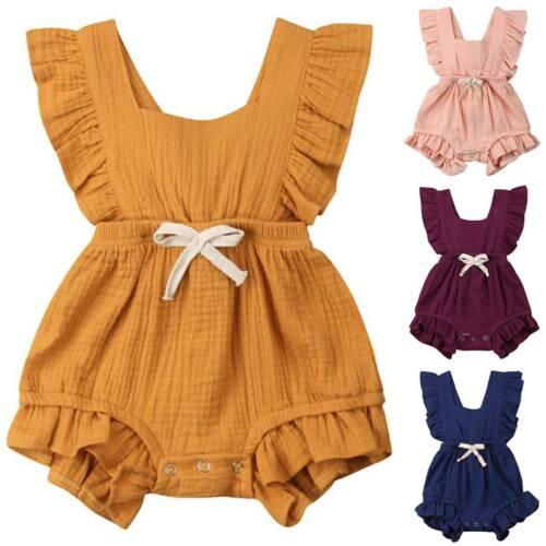 Neugeborene Baby Mädchen Strampler Jumpsuit Rüschen Einteiler Overall Kleidung
