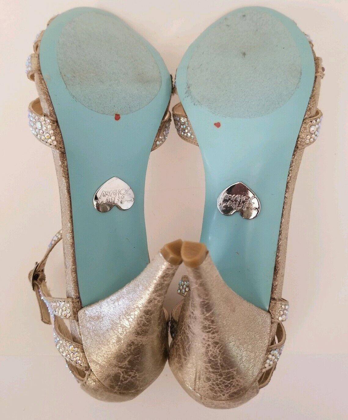 BHLDN Betsey Johnson Champagne Sparkle Iridescent Ankle Strap Strap Strap Heels Größe 6.5 New 4b8c05