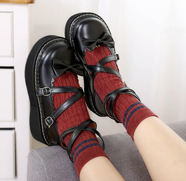 femmes Lolita Sweet Cute Cross Strappy Platform Bowknot chaussures Buckle Casual