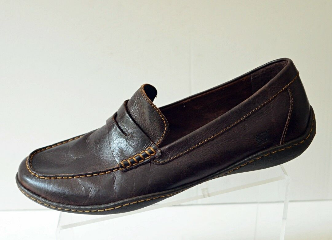 BORN Mens 11.5 Penny Loafers Driving Moc Casual Slip on shoes Dark Brown Leather