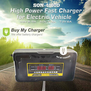 Details about Automatic 48v 8 9A 20ah~165ah electric cars Battery Charger  w/ LCD Display