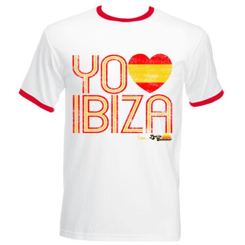 I Love Ibiza Men/'s T-shirt Spain Flag Vintage Top White football World Cup