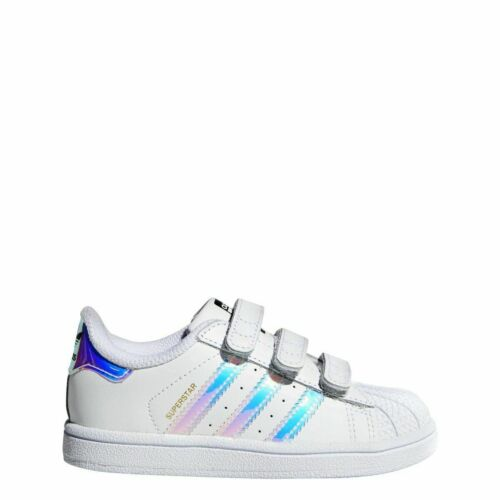 White////Hologram New Baby Adidas Originals Superstar CF Toddler Shoes AQ6280