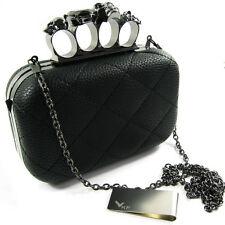 kilofly Missy K Skull Ring Clutch Purse Hard Detachable Strap Money Clip Strap