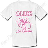 T-shirt Femme Ile De La Réunion Rose 974 Avec Prénom Personnalisé - Du S Au 2xl