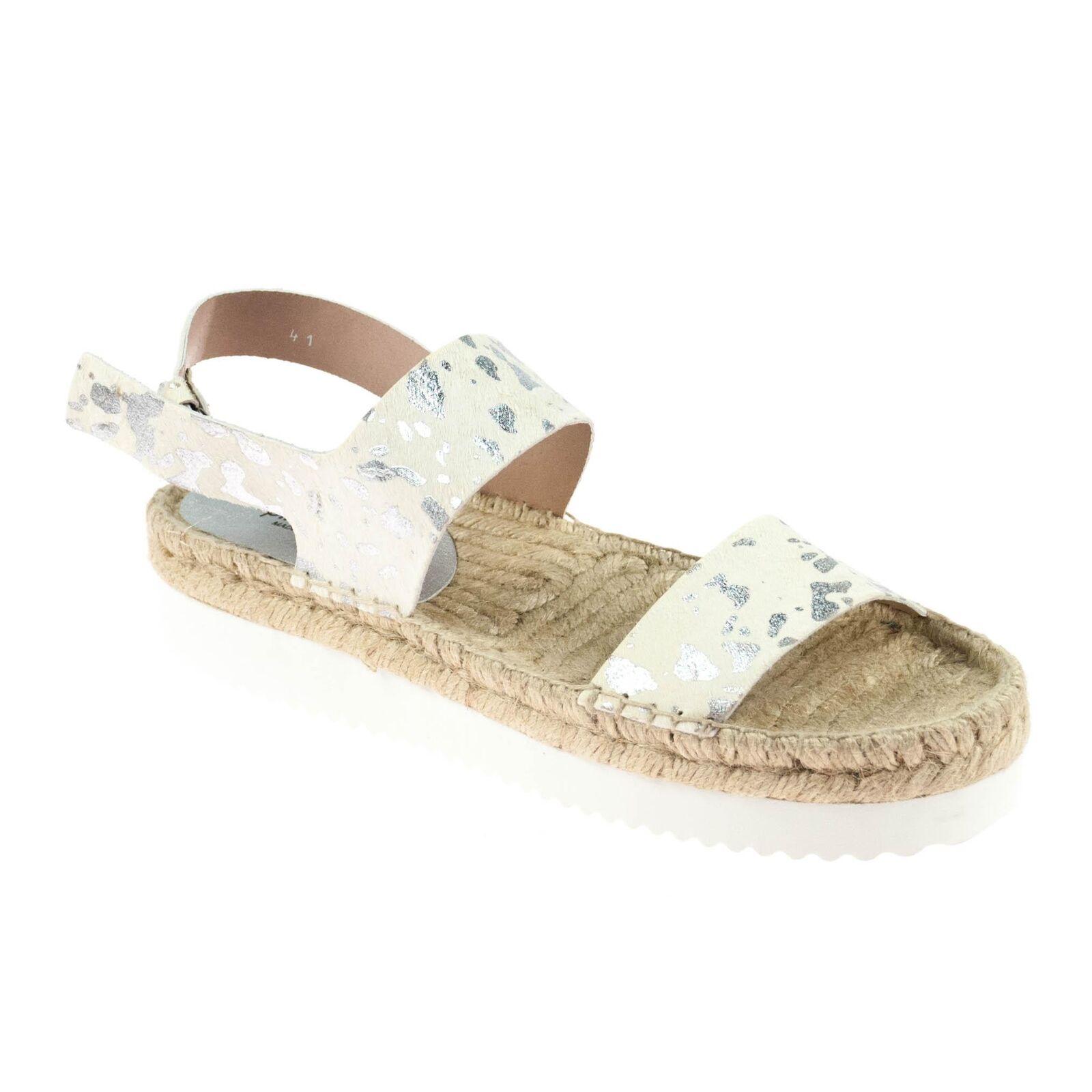 Pimientos Damen Sandale Leder Weiß Weiß Weiß Silber 7f903b