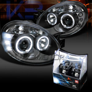 Details about 03-05 Dodge Neon Black LED Halo Projector Headlights+H1  Halogen Bulbs