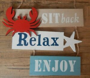 SIT BACK RELAX ENJOY Rustic style wood sign Crab Nautical beach sea UK seller
