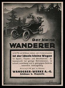 Alte-Reklame-1914-Der-kleine-Wanderer-5-12-PS-mit-2-Sitzen-Schoenau-b-Chemnitz