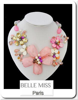 Luxus Kette Statement Belle Miss Paris Halskette Collier Kollier Perlmutt Türkis