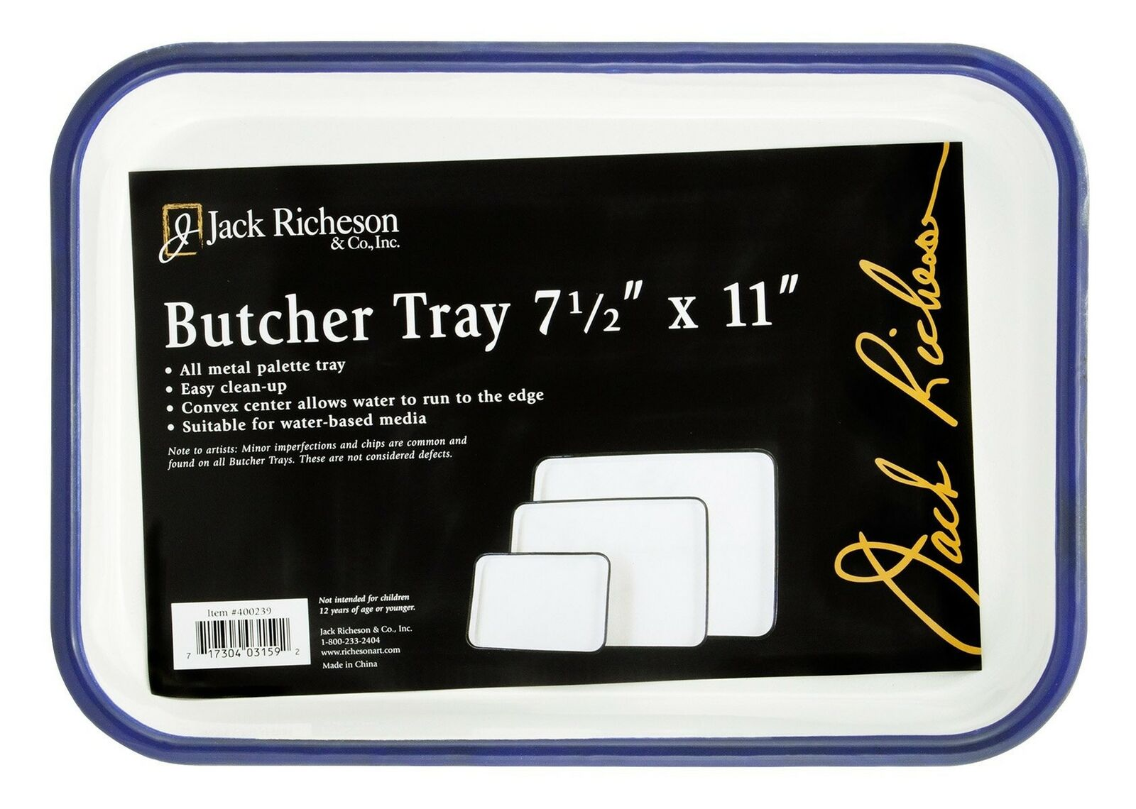 7 x 11 in Pack of 2 Jack Richeson Butcher Tray Palette White - Porcelain On Steel