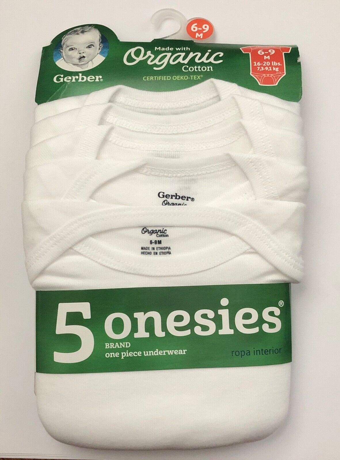 5 White Short Sleeve Onesies— Size 0-3 3-6 6-9,18 or 24 months Gerber Baby
