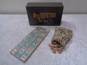 Antikes Lotto Spiel in Holz Kästchen / Box Schatulle - Vintage um 1920