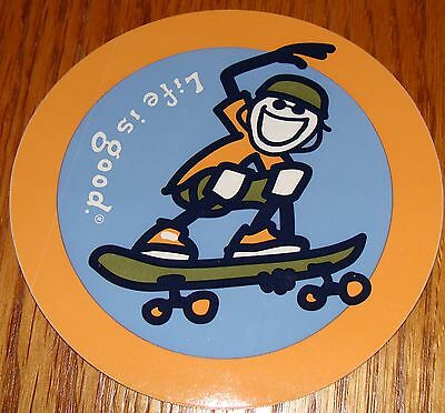 """Life is Good Sticker 4/"""" Round Jake and Rocket on Sled Blue//Orange//Green//Yekow"""