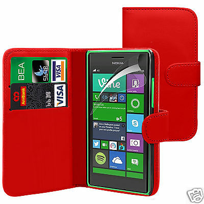 Red PU Leather Wallet Flip Case Cover & Screen Guard For Various Phones