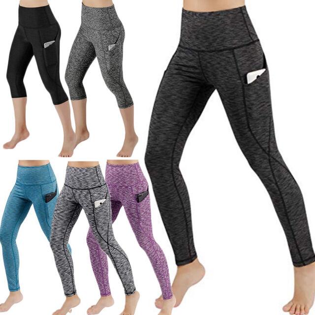 1b5d874a9e8 Women's High Waist Yoga Pants Workout Side Pockets Running Active Gym  Trousers G