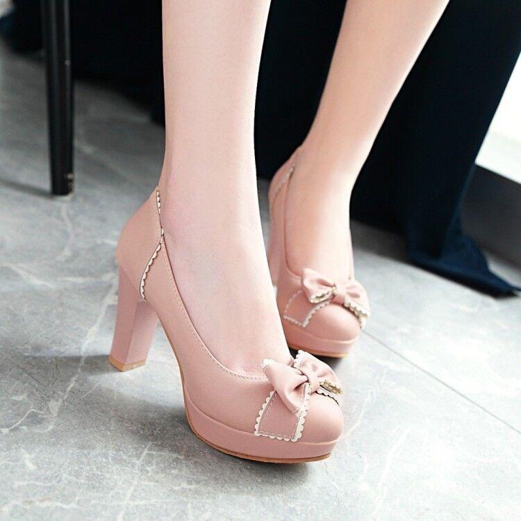 Womens Sweet Lolita Block Bowknot Round Toes Pumps High Block Lolita Heels Mary Janes Shoes bc5615