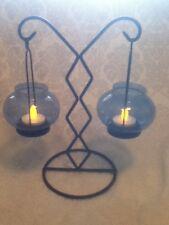 """Tea Light 10"""" Table Candelabra Bo Ho Goth Black Iron Cobalt Blue Glass Suspended"""