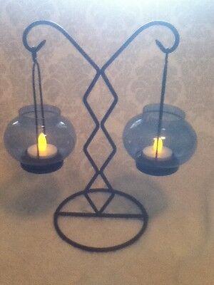 """10"""" Tea Light Table Candelabra Bo Ho Goth Black Iron Cobalt Blue Glass Suspended"""