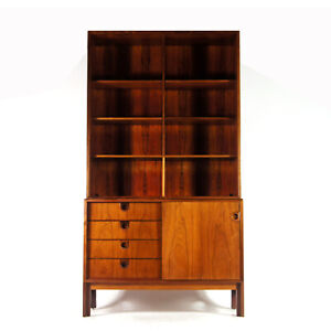 Retro-Vintage-Danish-Rosewood-Wall-System-Unit-Bookcase-Book-Cabinet-50s-60s-70s