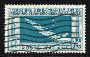 Italy 7.70 Lire Air Mail Stamp c1930 Used (tiny pin thin) Cat. £1400 (4834)