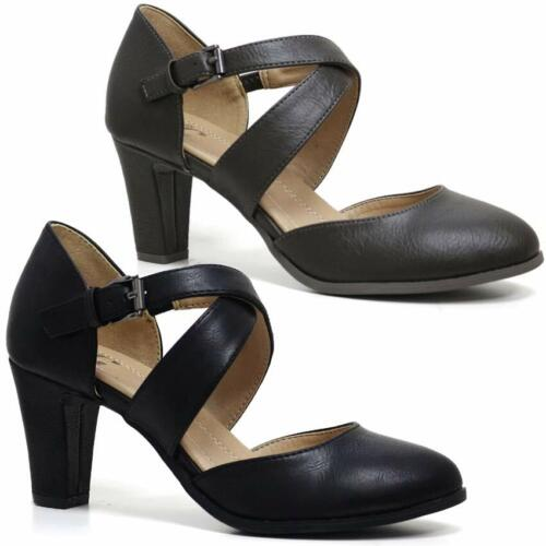 Womens Ladies Mid Block Heel Mary Jane Strap Smart Work Comfort Court Shoes Size